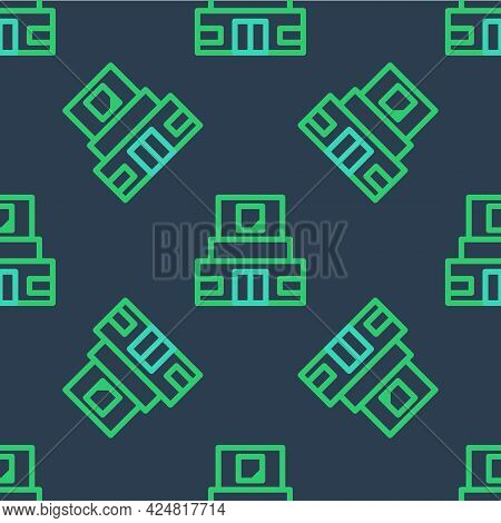 Line Mausoleum Of Lenin Icon Isolated Seamless Pattern On Blue Background. Russia Architecture Landm