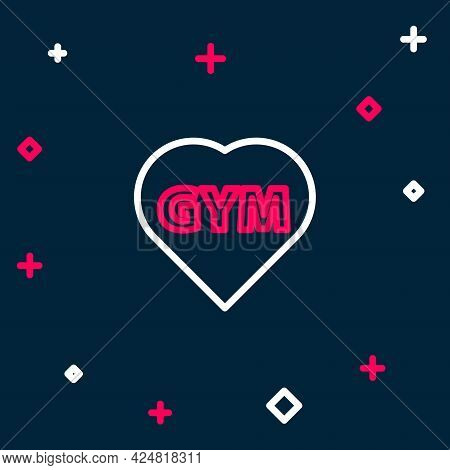 Line Fitness Gym Heart Icon Isolated On Blue Background. I Love Fitness. Colorful Outline Concept. V