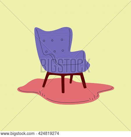 Violet Vintage Armchair On Funky Rug Isolated On Green Background. Trendy Vector Illustration. Moder