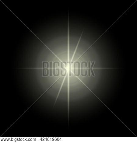 Transparent Light Flare. Lens Flare Optical Effect. Isolated On Black Background. Design Element.