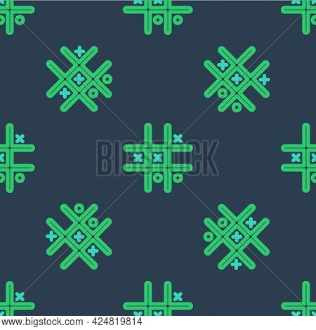 Line Tic Tac Toe Game Icon Isolated Seamless Pattern On Blue Background. Vector
