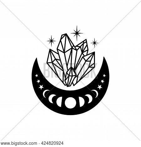 Hand Drawn Crescent Moon With Quartz Crystals.