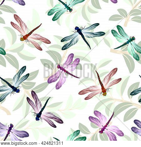 Multi-colored Dragonflies On A Background Of Leaves.vector Pattern Of Dragonflies And Leaves On A Wh
