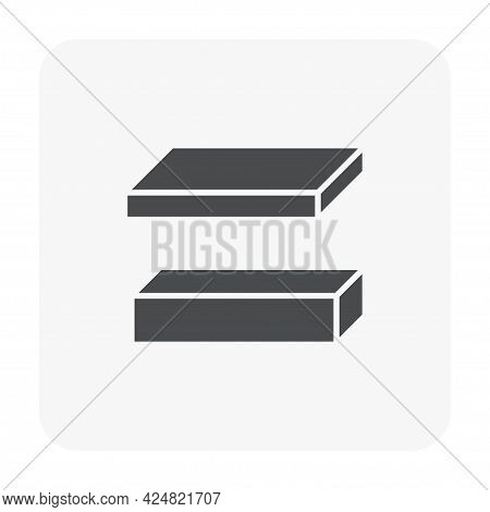 Steel Product Vector Icon. Consist Of Flat Bar And Square Rod.\nthat Alloy Of Iron From Steel Produc