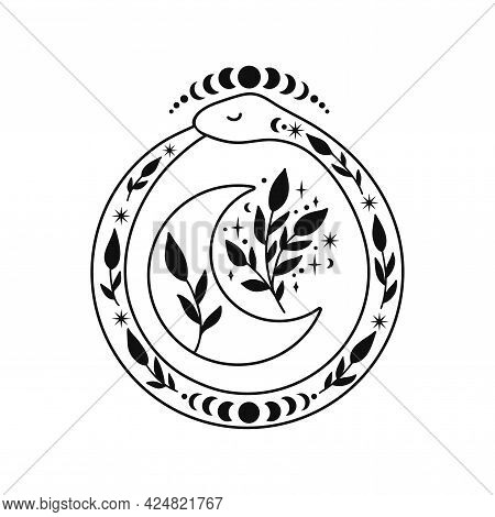 Ouroboros With Half Moon And Floral Branches.