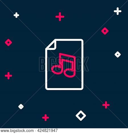 Line Music Book With Note Icon Isolated On Blue Background. Music Sheet With Note Stave. Notebook Fo