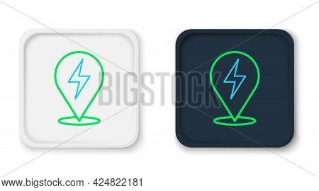 Line Lightning Bolt Icon Isolated On White Background. Flash Icon. Charge Flash Icon. Thunder Bolt.