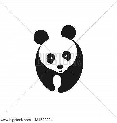 Panda Bear Silhouette. Panda Template For Your Project.