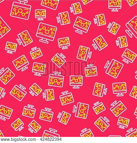 Line Genetic Engineering Modification On Laptop Icon Isolated Seamless Pattern On Red Background. Dn