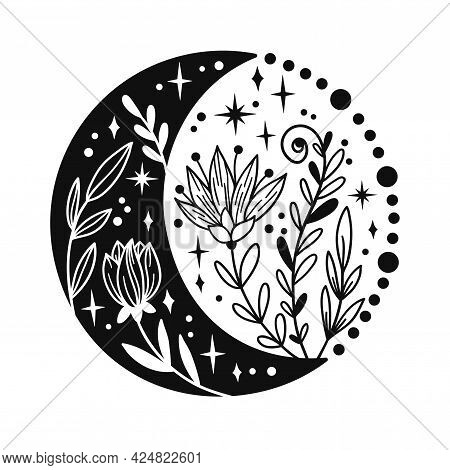 Hand Drawn Crescent Moon With Flowers And Floal Elements. Lunar Phases Spiritual Design. Celestial V