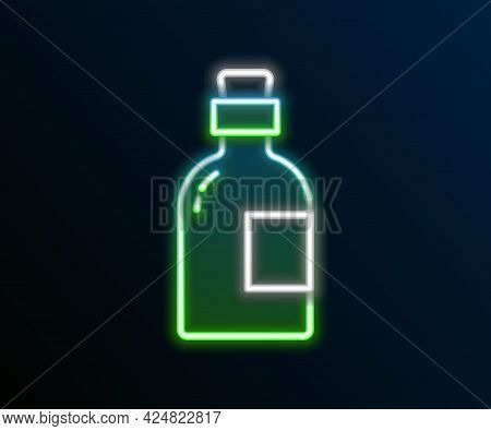 Glowing Neon Line Alcohol Drink Rum Bottle Icon Isolated On Black Background. Colorful Outline Conce