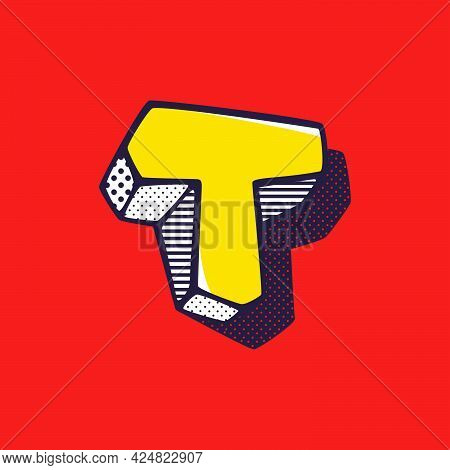 Retro 3dletter T Logo With Polka Dot And Striped Pattern On The Sides. Vector Isometric Font For Ki