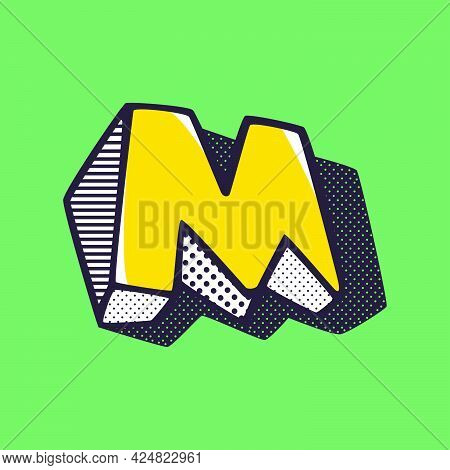 Retro 3dletter M Logo With Polka Dot And Striped Pattern On The Sides. Vector Isometric Font For Ki