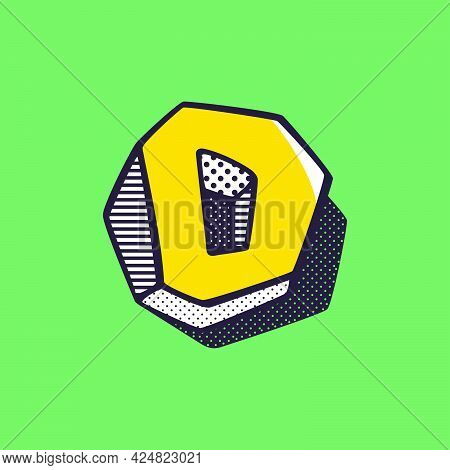 Retro 3dletter D Logo With Polka Dot And Striped Pattern On The Sides. Vector Isometric Font For Ki