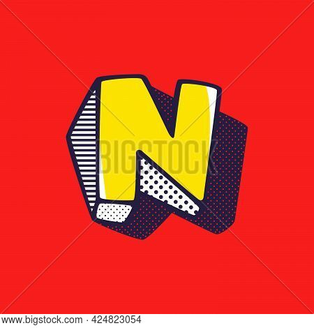 Retro 3dletter N Logo With Polka Dot And Striped Pattern On The Sides. Vector Isometric Font For Ki