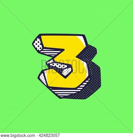 Retro 3d Number Three Logo With Polka Dot And Striped Pattern On The Sides. Vector Isometric Font Fo