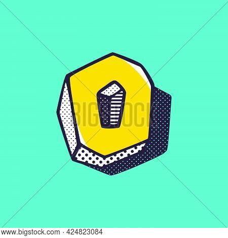 Retro 3d Number Zero Logo With Polka Dot And Striped Pattern On The Sides. Vector Isometric Font For