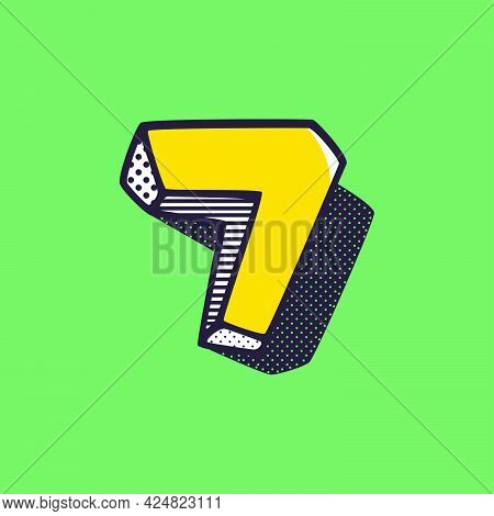 Retro 3d Number Seven Logo With Polka Dot And Striped Pattern On The Sides. Vector Isometric Font Fo
