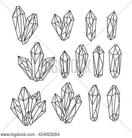 Set Of Hand Drawn Monochrome Quartz Crystals. Diamond Jewelry Silhouettes Collection. Boho Vector Il