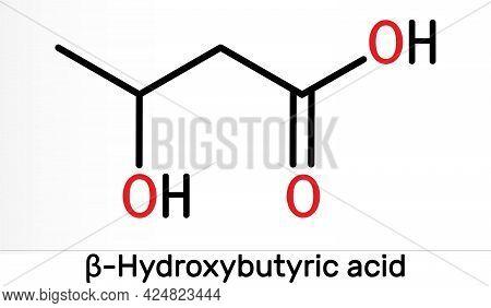 Beta-hydroxybutyric Acid, 3-hydroxybutyric Acid Molecule. It Is Beta Hydroxy Acid, Is Precursor To P