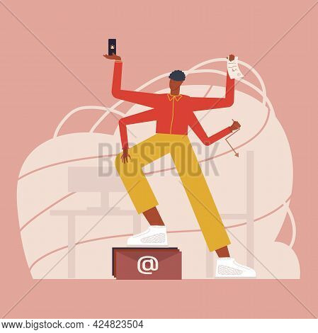 The Young But Happy African Employee Has Four Arms That Perform Multiple Office Tasks At The Same Ti