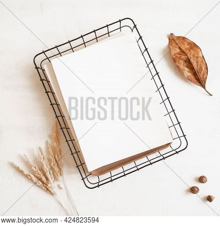 Empty Blank White Magazine Or Catalog Cover Mock Up, Autumn Leaf And Acorns And Dried Grass On Light