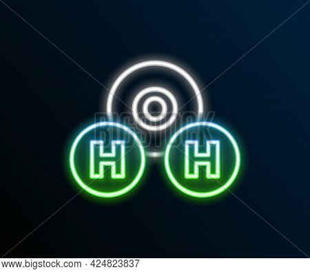 Glowing Neon Line Chemical Formula For Water Drops H2o Shaped Icon Isolated On Black Background. Col