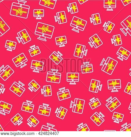 Line Computer Monitor With Cardiogram Icon Isolated Seamless Pattern On Red Background. Monitoring I