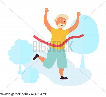 Old People Grandpa Runs A Marathon And Finishes With A Red Ribbon. Pensioners Are Athletic. Vector I