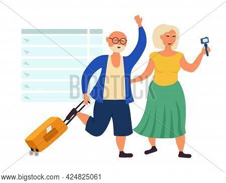 Old People Grandparents Travel And Blog. Pensioners At The Airport. Vector Illustration Isolated On