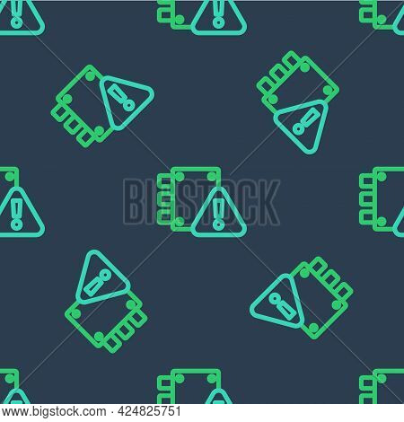 Line House Under Protection Icon Isolated Seamless Pattern On Blue Background. Home And Lock. Protec