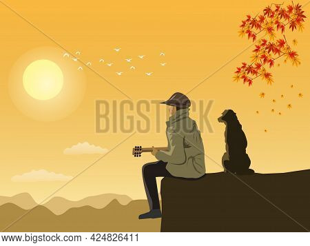 A Man In A Robe Is Playing An Acoustic Guitar With A Dog Sitting On A High Cliff. With Mountains And