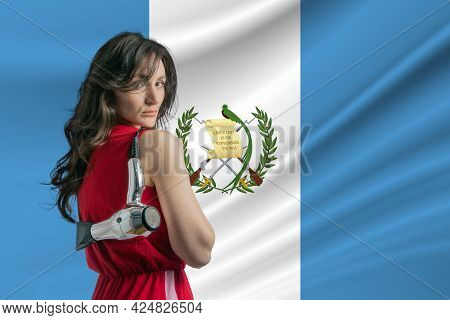 Beauty Industry In Guatemala. Happy Female Hairdresser Holding Hairdryer Against Guatemala Flag Back