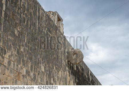 Stone Ring At Juego De Pelota Ball Court At Chichen Itza Archaeological Site In Yucatan, Mexico. Chi