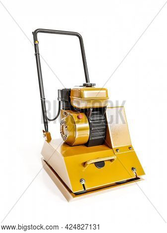 3D rendering of vibratory plate compactor model on white background
