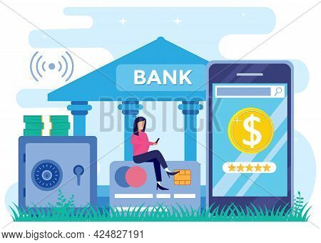 Vector Illustration Of Flat Isometric Isolated On White Background. Online Bank For Banking Concepts