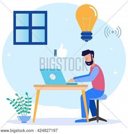 Flat Style Vector Illustration. Freelancers Work Laptops Sitting At Desks At Work Thinking About Tas