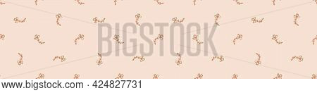 Seamless Minimalist Doodle Flower Border Pattern. Calm Earthy Color Edge Banner. Simple Modern Scand
