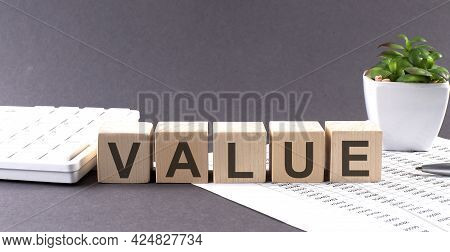 Concept Word Value On The Wooden Blocks On Gray Background From Green Flower And Chart.