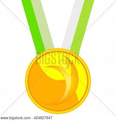 Gold Medal For Excellence In Gymnastics, Vector Art Illustration.