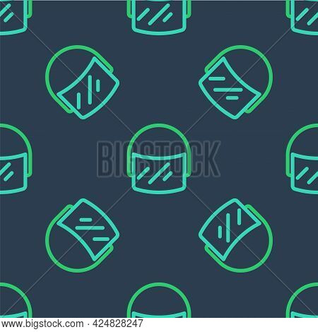 Line Police Helmet Icon Isolated Seamless Pattern On Blue Background. Military Helmet. Vector