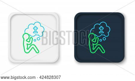 Line Man Graves Funeral Sorrow Icon Isolated On White Background. The Emotion Of Grief, Sadness, Sor