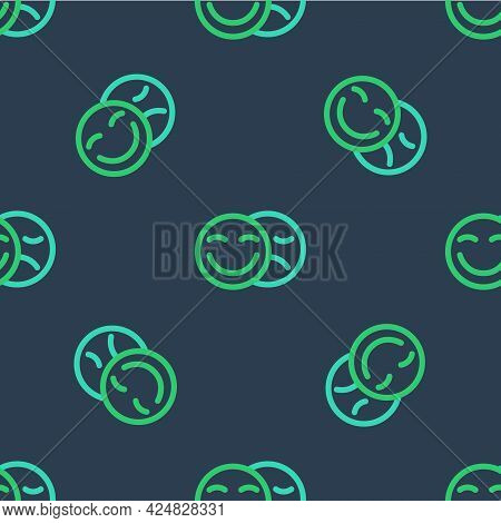 Line Comedy And Tragedy Theatrical Masks Icon Isolated Seamless Pattern On Blue Background. Vector