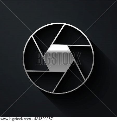Silver Camera Shutter Icon Isolated On Black Background. Long Shadow Style. Vector