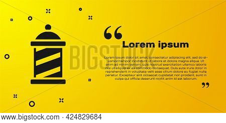 Black Classic Barber Shop Pole Icon Isolated On Yellow Background. Barbershop Pole Symbol. Vector