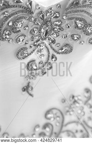 Wedding Jewelry Decor Of The Bride With Diamonds Close-up.