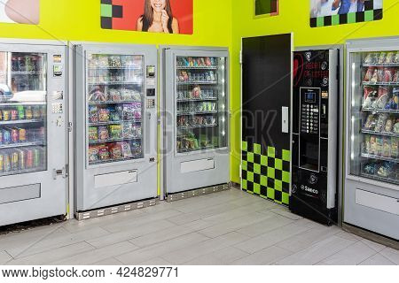 Galicia, Spain; June 25, 2021: Vending Machine Shop With No People