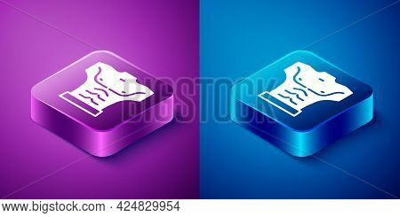 Isometric Bodybuilder Showing His Muscles Icon Isolated On Blue And Purple Background. Fit Fitness S