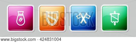 Set Line Old Money Bag, Shield, Crossed Medieval Flag And Medieval. Colorful Square Button. Vector