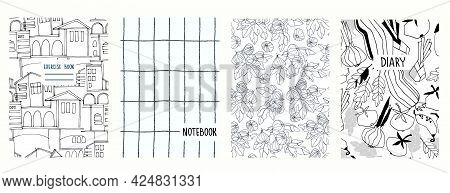 Cover Page Vector Templates With Historic Cityscape, Vegetables, Fig Branches, Gridlines. Headers Is